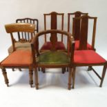 A mahogany tub chair, and five other chairs (6)