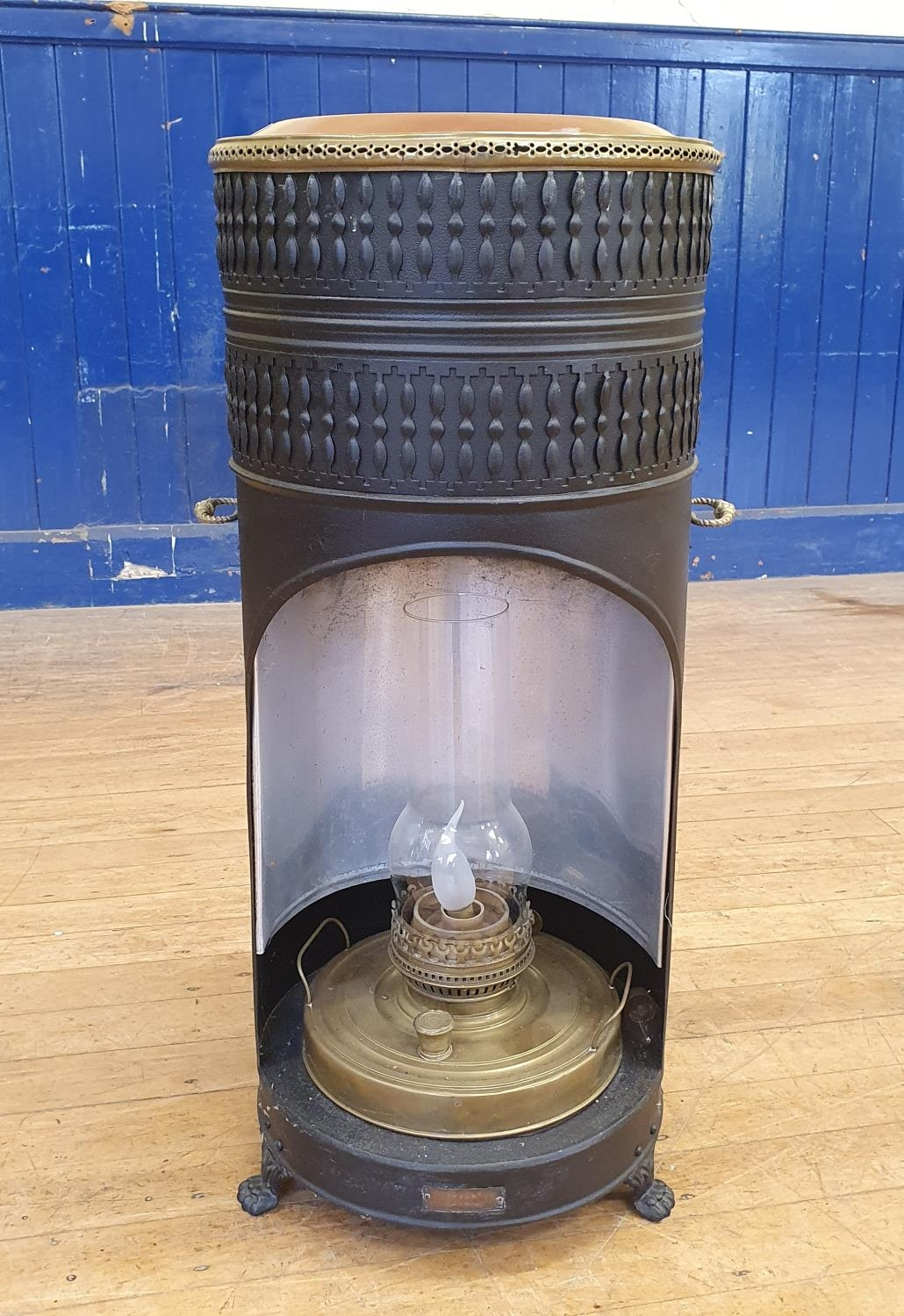 A metal conservatory heater, converted to electricity, 85 cm high