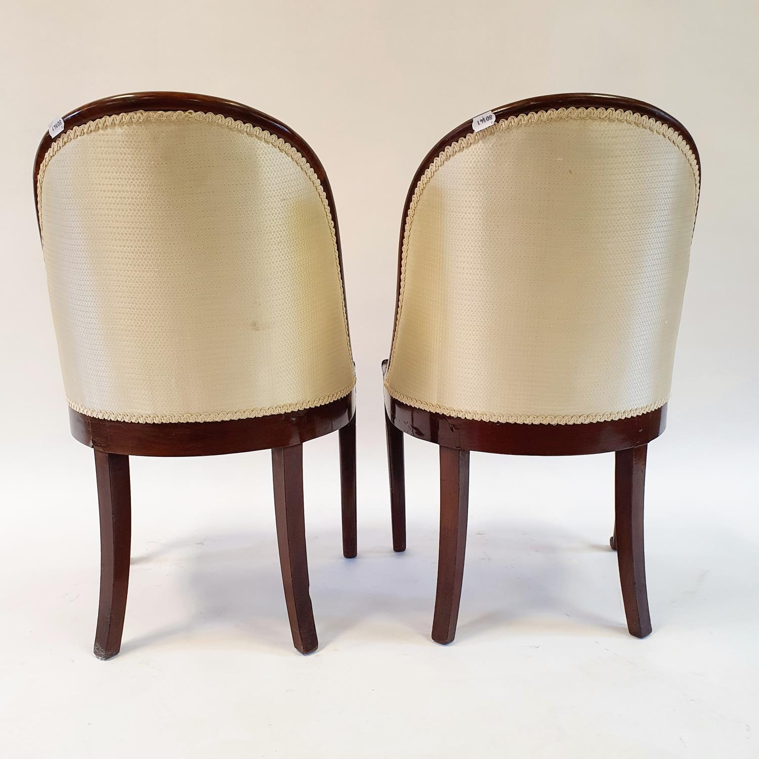 A pair of 19th century mahogany hoop back chairs, of small proportions, on cabriole legs (2) Signs - Image 6 of 7