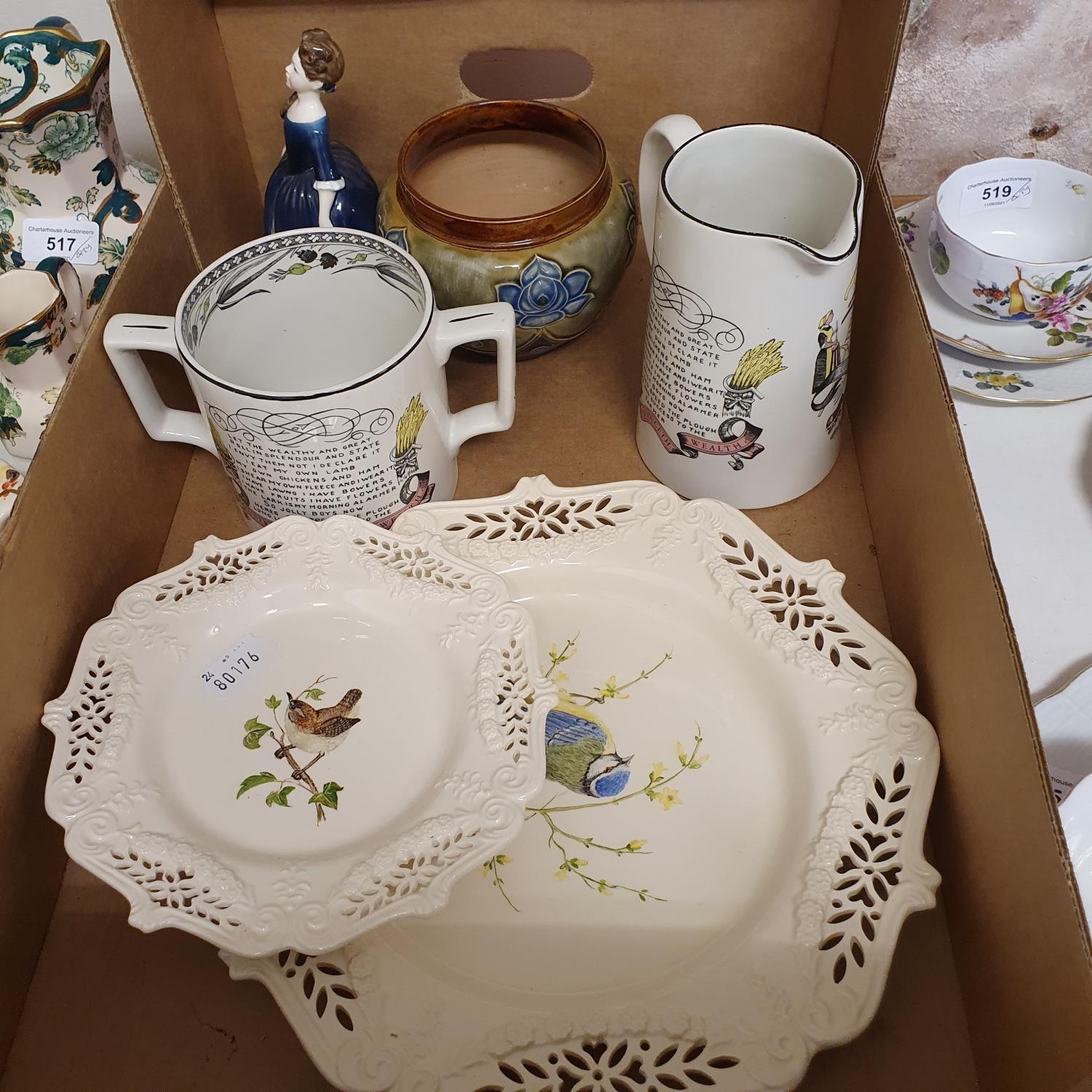 A Royal Doulton figure Dinky Do, HN1678, seven modern Royal Worcester blue and white cream jugs - Image 4 of 5