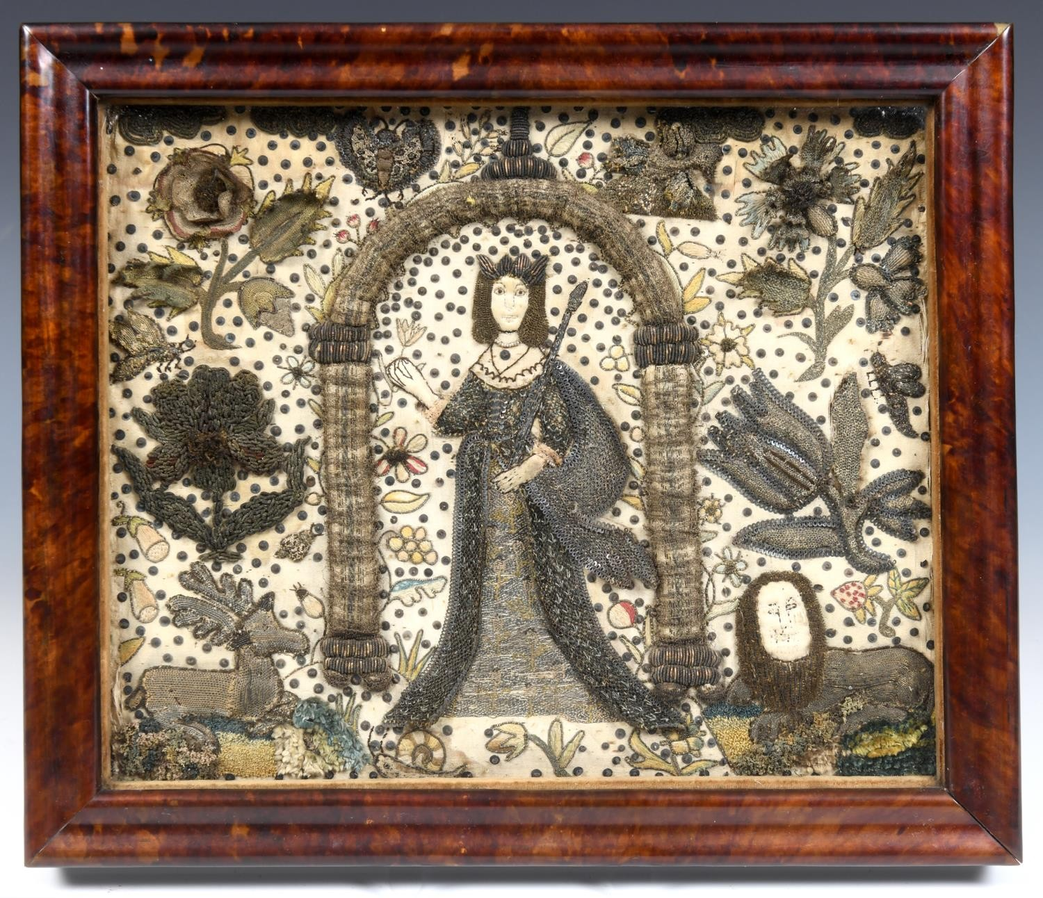 A raised work panel, decorated a princess in an archway surrounded by flowers, 24 x 30 cm, in a