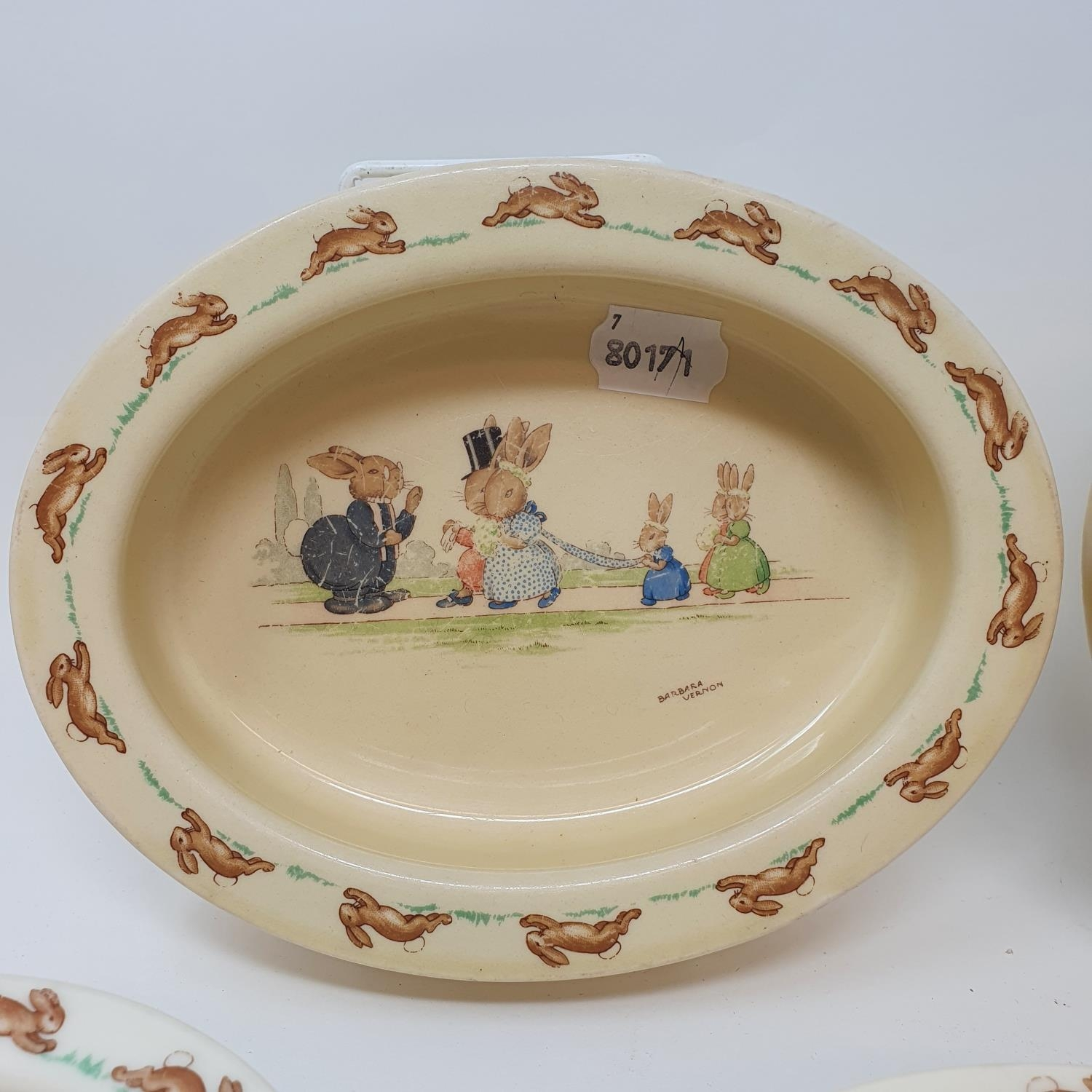 Two Royal Doulton Bunnykins baby's plates by Barbara Vernon, and other Bunnykins china (8) - Image 3 of 4