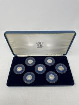 A set of seven Jersey Ship Building Series £1 proof coins, boxed