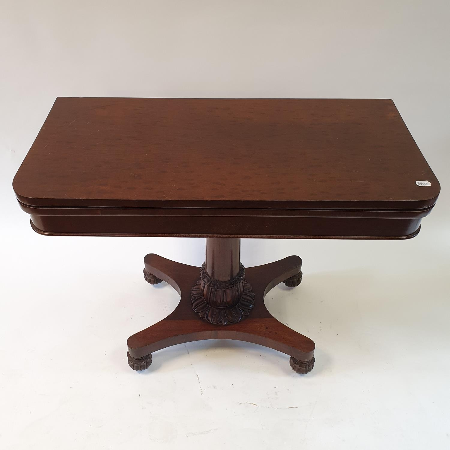 A mahogany plum pudding folding card table, on carved column support to shaped base on carved bun - Image 4 of 4