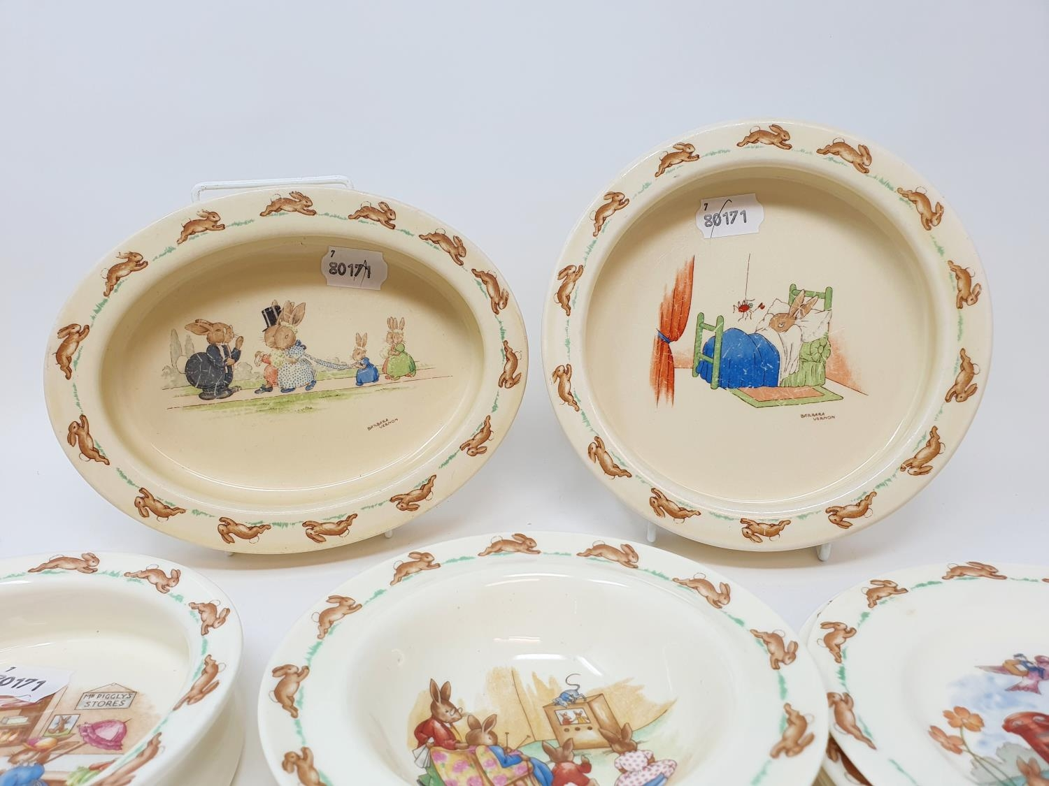 Two Royal Doulton Bunnykins baby's plates by Barbara Vernon, and other Bunnykins china (8)