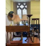 A mahogany Pembroke table 92 cm wide, two pedestals, a stool, a single chair, a mirror, a pair of