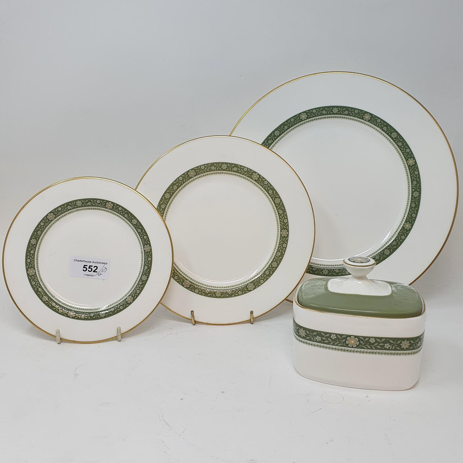 A pair of Staffordshire flat back spaniels, a Royal Doulton part dinner service, other ceramics