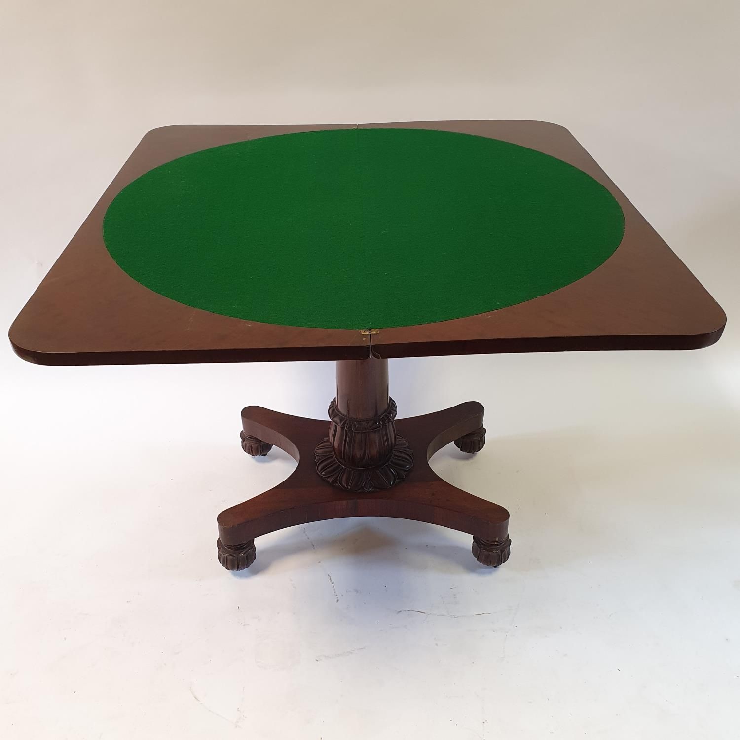 A mahogany plum pudding folding card table, on carved column support to shaped base on carved bun - Image 3 of 4