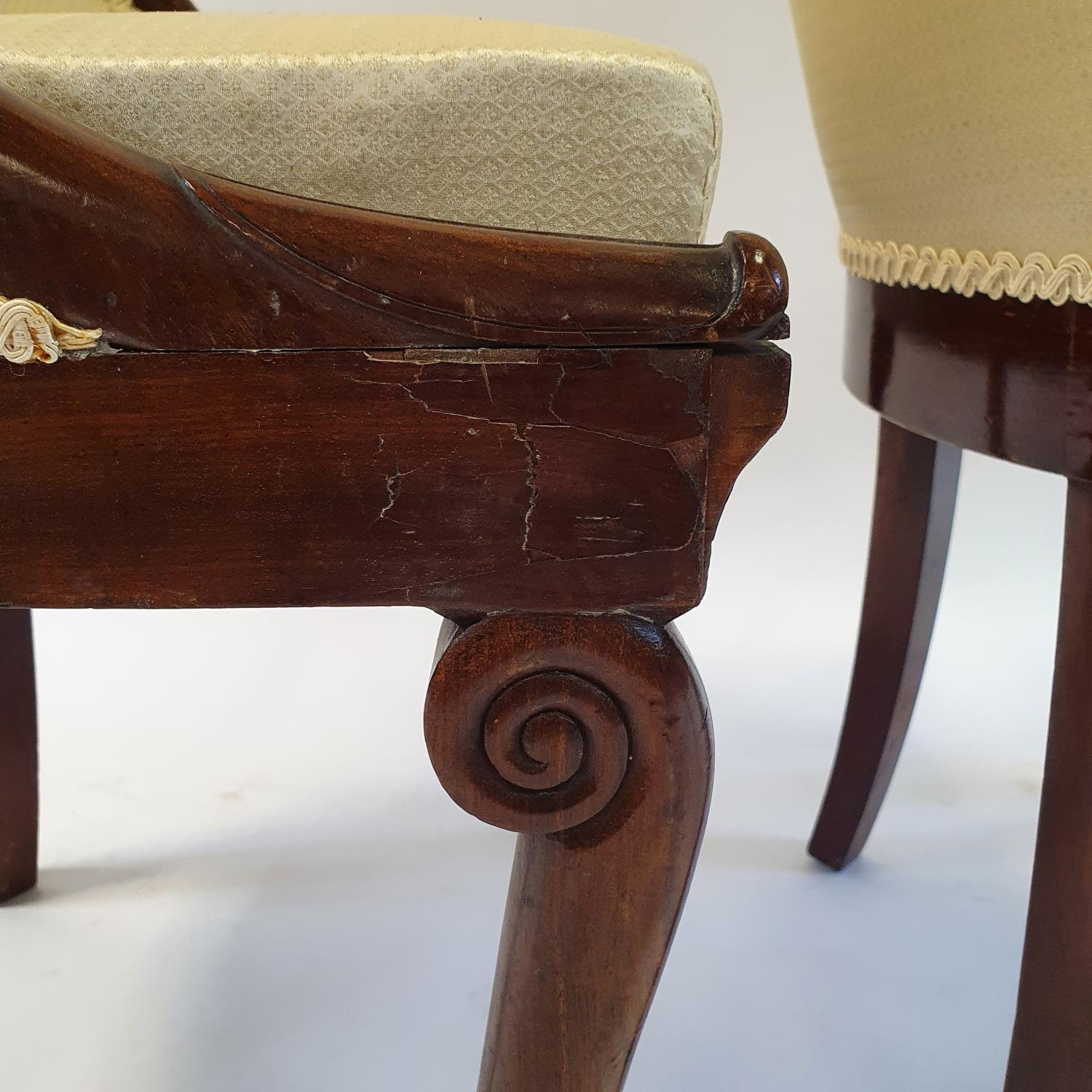 A pair of 19th century mahogany hoop back chairs, of small proportions, on cabriole legs (2) Signs - Image 5 of 7