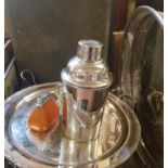 A silver plated cocktail shaker, other silver plate and metalwares (box)