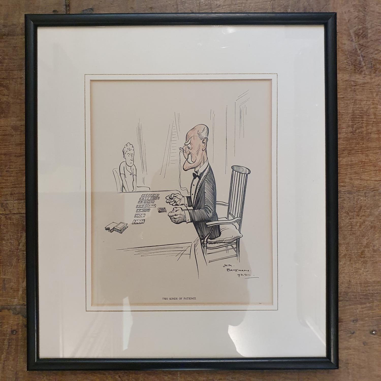 H M Bateman, a cartoon of a man playing cards, print, 25 x 20 cm and various prints and pictures (