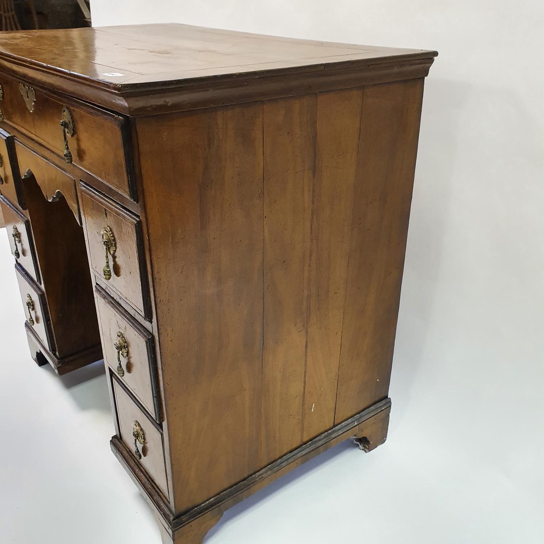 An 18th century style walnut kneehole desk, with herringbone crossbanding, having, having one long - Image 5 of 11