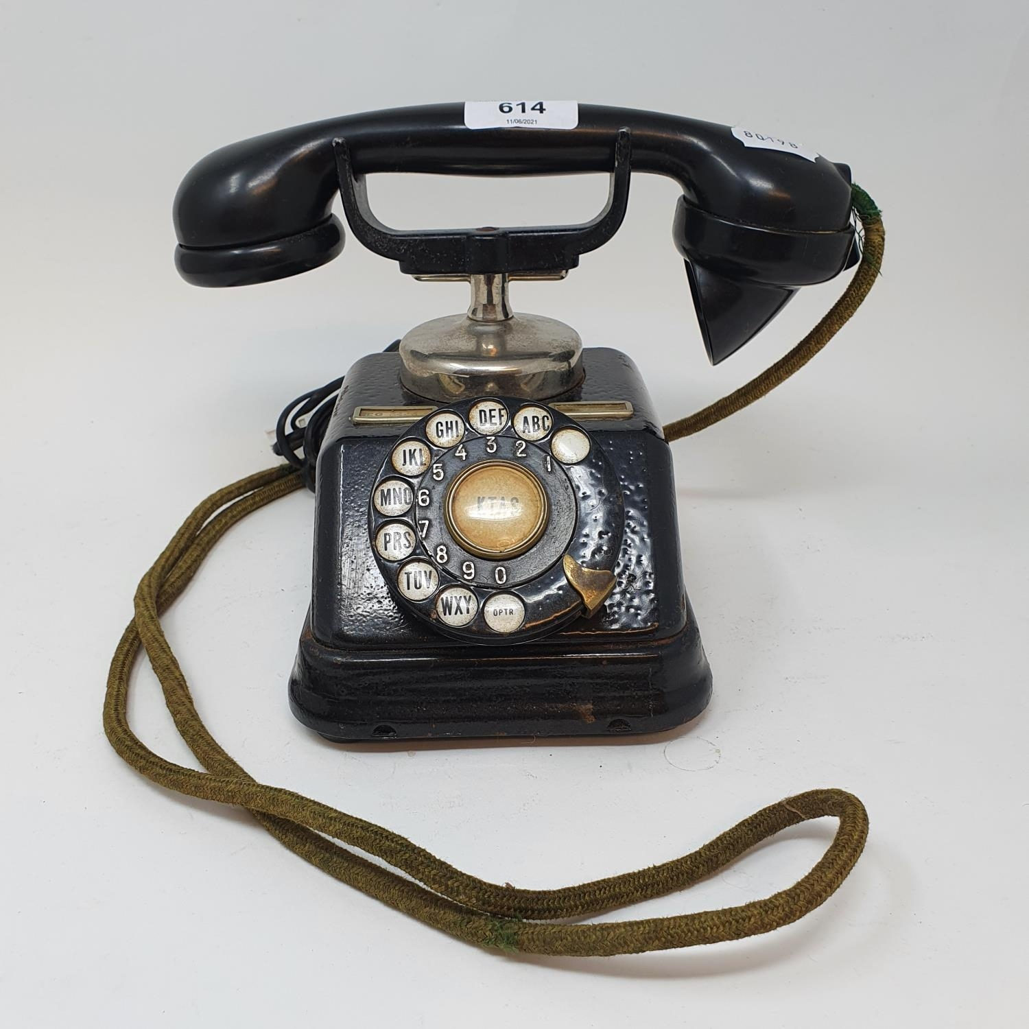 A Danish black dial phone 1930s converted