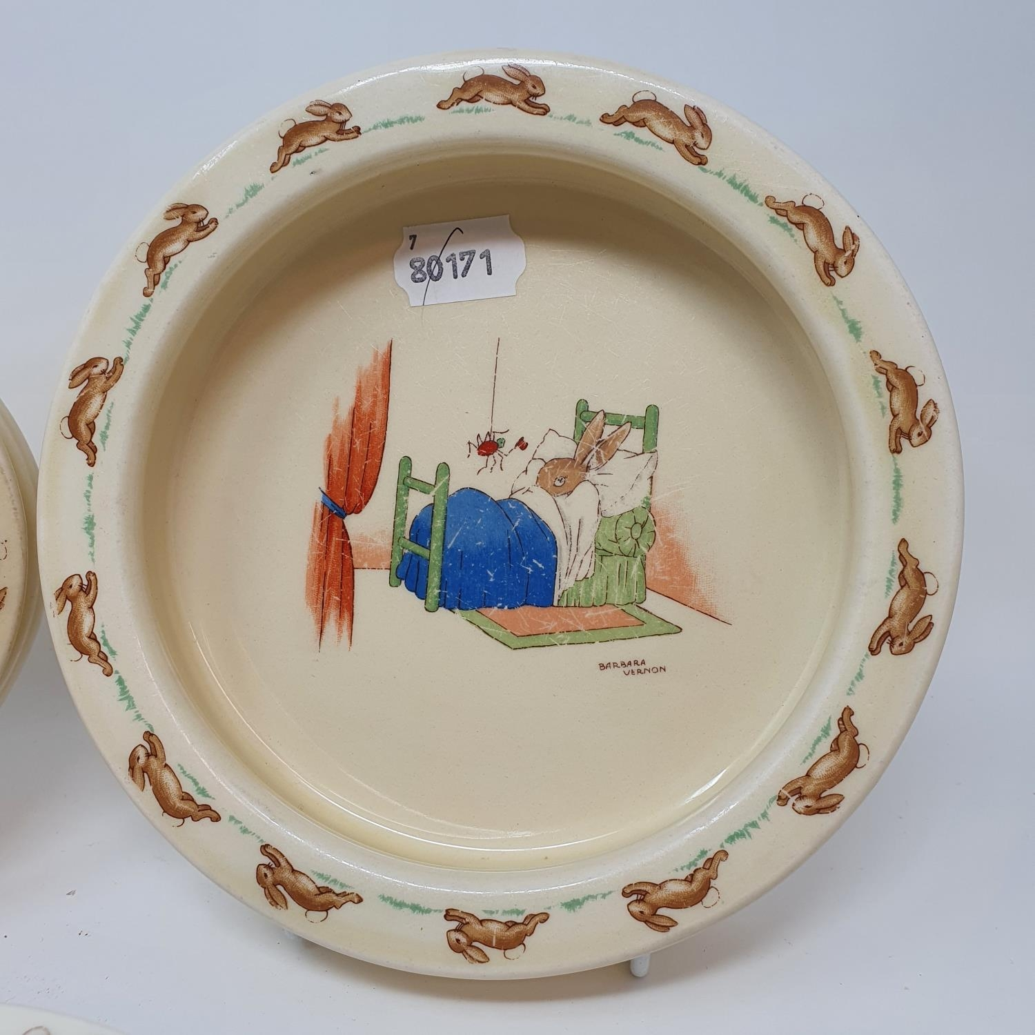 Two Royal Doulton Bunnykins baby's plates by Barbara Vernon, and other Bunnykins china (8) - Image 2 of 4