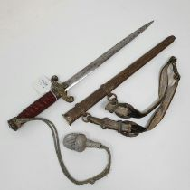 A Third Reich army dagger, the blade mark E & F Horster Soliengen, with a scabbard and a hanger,