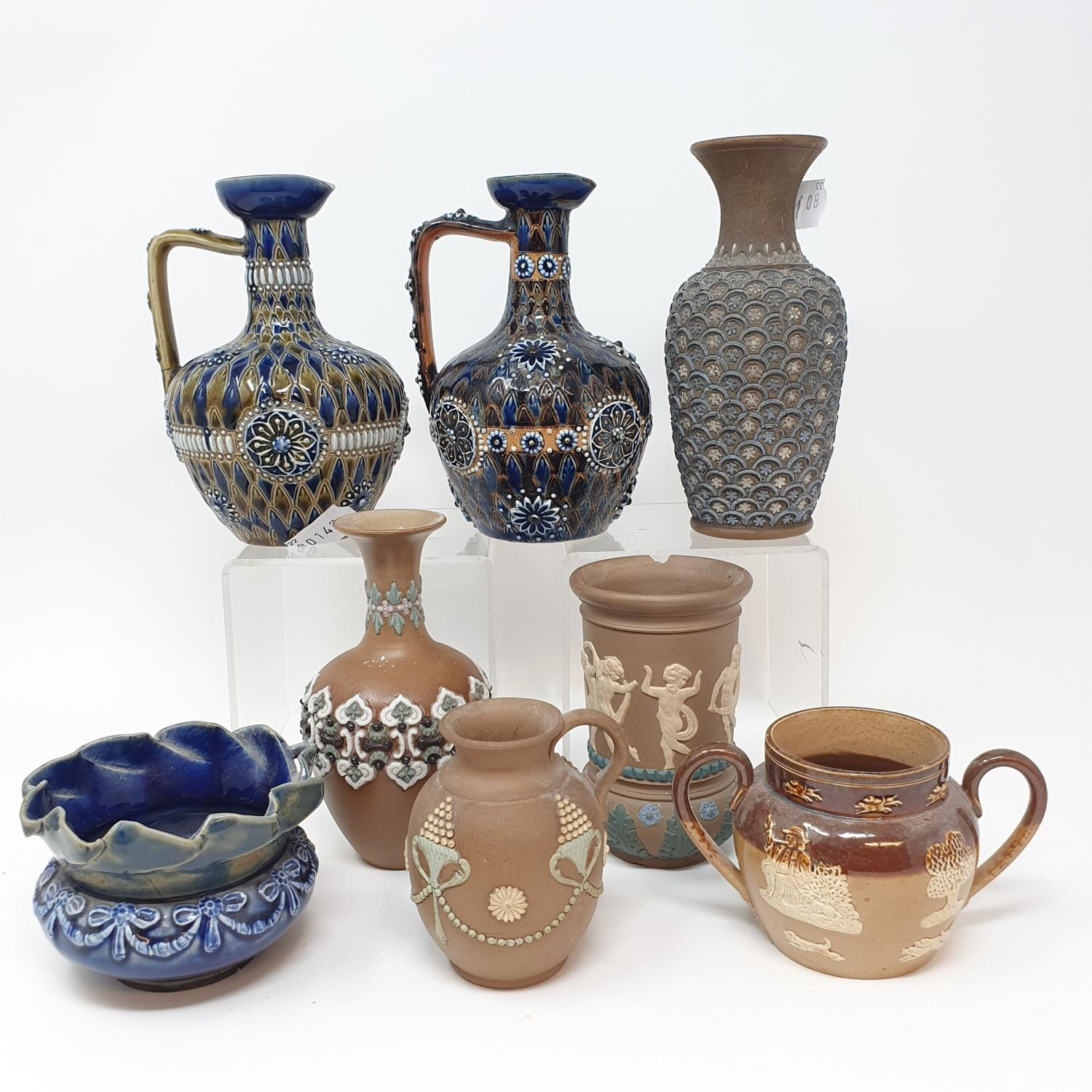 A pair of Doulton Lambeth jugs, 15 cm high, and six other items of Doulton (8) - Image 3 of 9