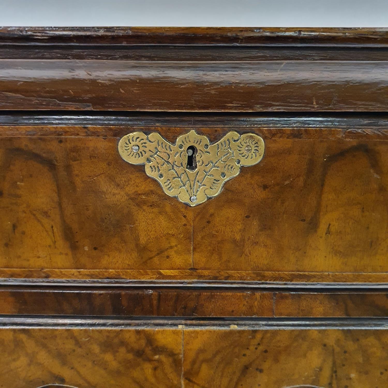 An 18th century style walnut kneehole desk, with herringbone crossbanding, having, having one long - Image 6 of 11