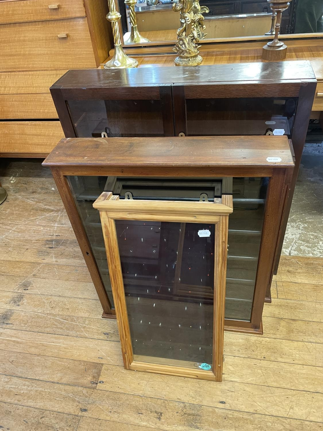 A mahogany wall hanging display cabinet, 76 cm wide and three others (4)