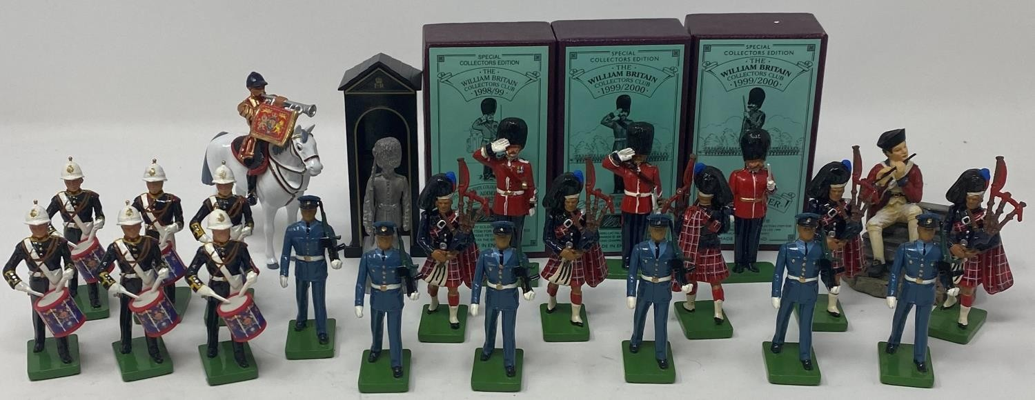 A Britains The Royal Marines Additional Side Drummers, No 3108, boxed, Band Master, boxed,