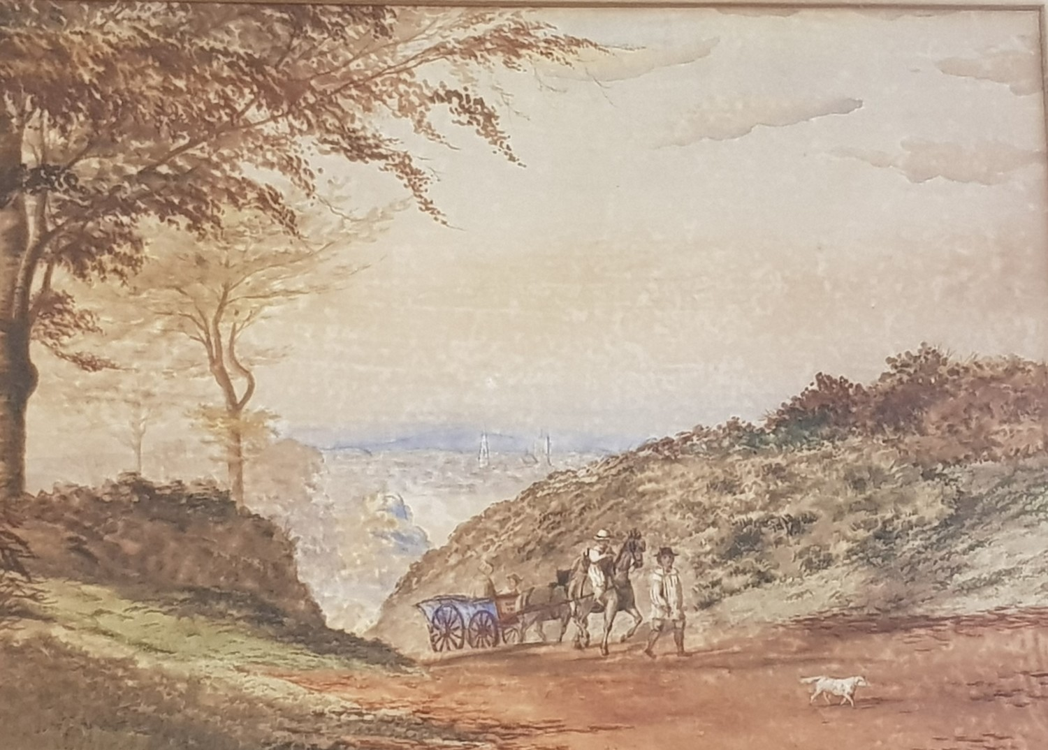 English school, early 20th century, landscape with figures and a horse and cart, 35 x 50 cm and
