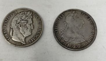 A Spanish 8 Reales, 1772, and a French 5 Francs, 1838 (2)