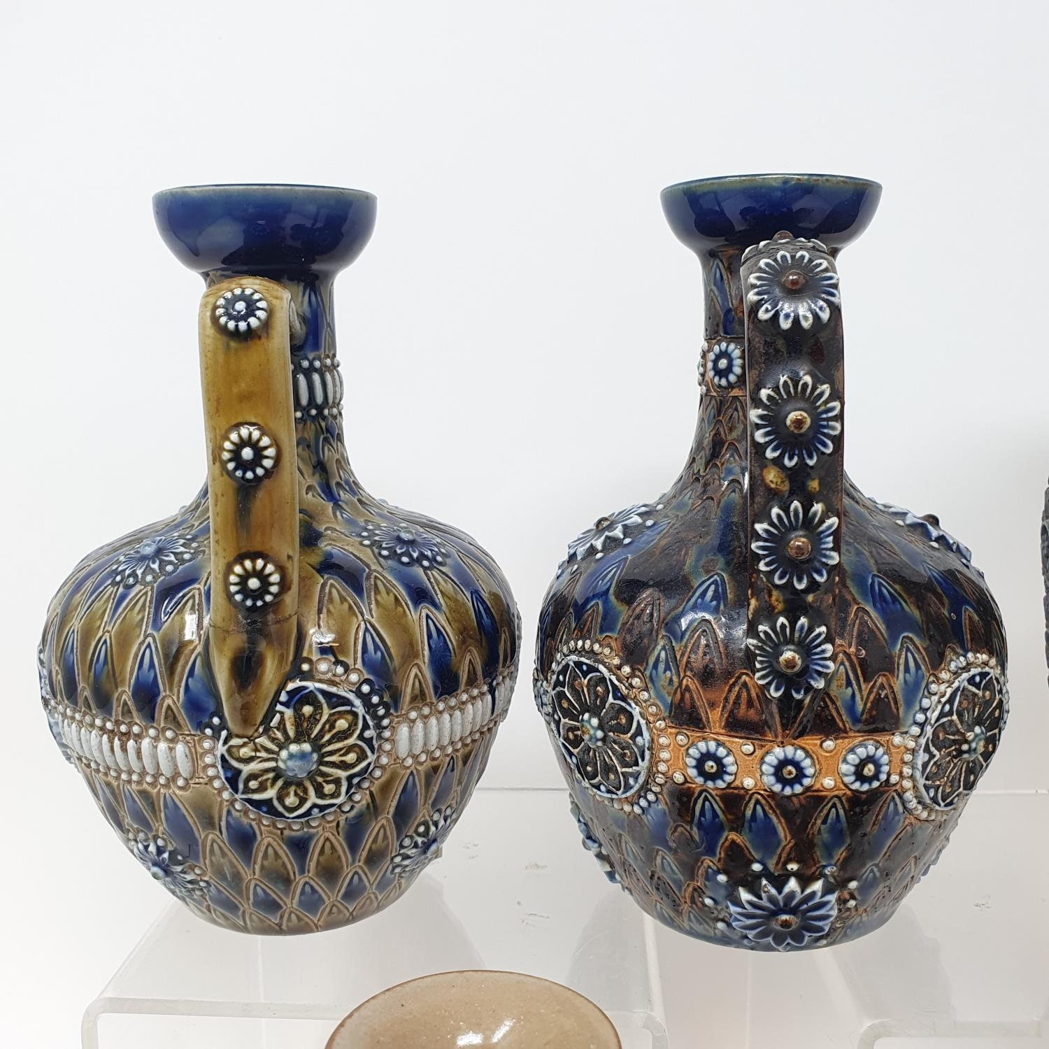 A pair of Doulton Lambeth jugs, 15 cm high, and six other items of Doulton (8) - Image 2 of 9