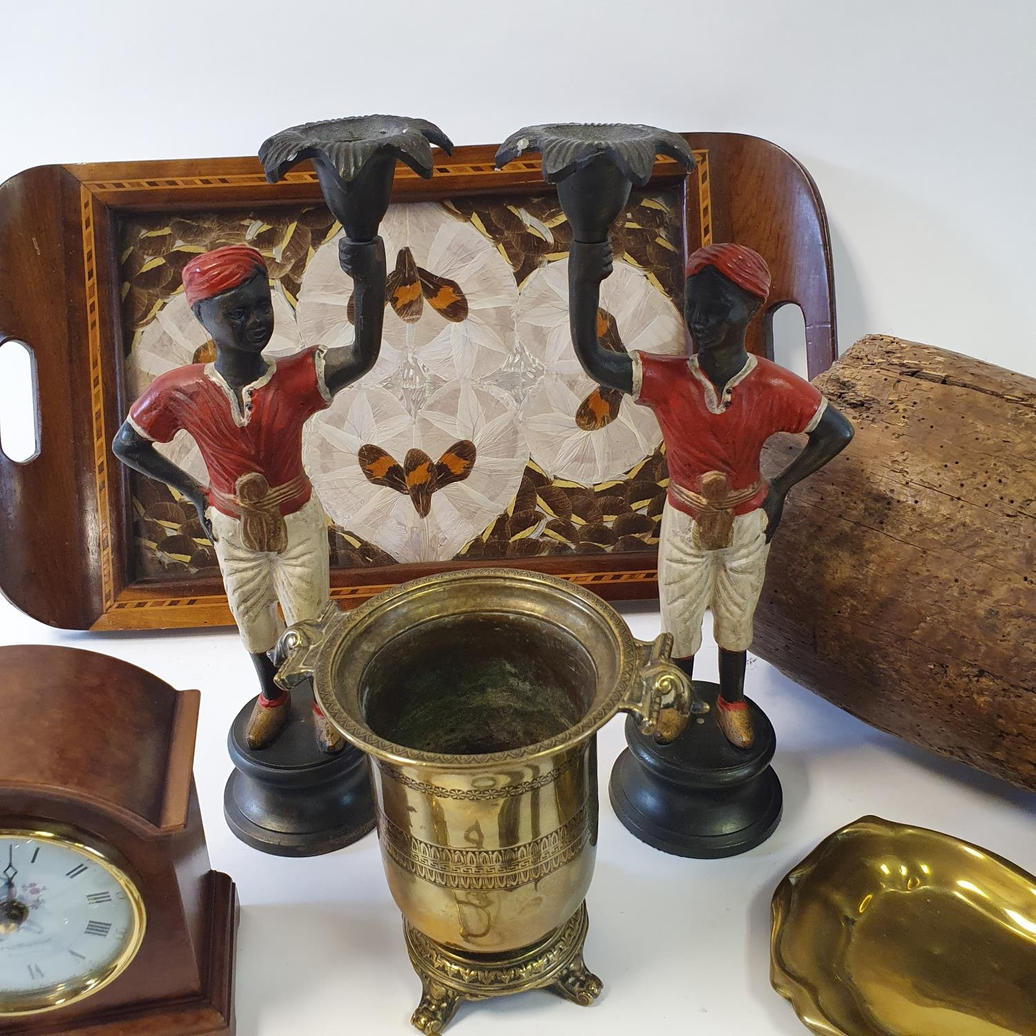 A 19th century cast metal and wooden shoe last, a mahogany tray decorated butterfly wings and - Image 2 of 2