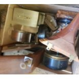 A wall clock, in an oak case and various other clocks (4 boxes) Mostly battery powered