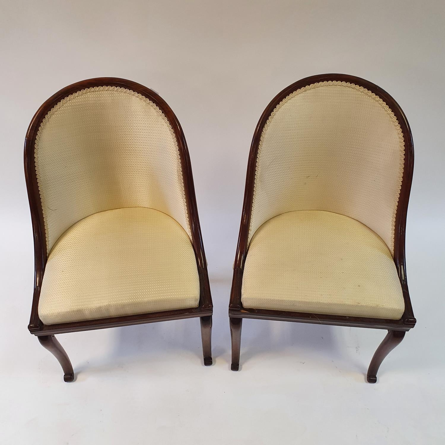 A pair of 19th century mahogany hoop back chairs, of small proportions, on cabriole legs (2) Signs - Image 3 of 7