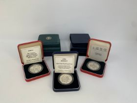 A Jersey silver proof £1 coin, 1989, and others similar, all boxed