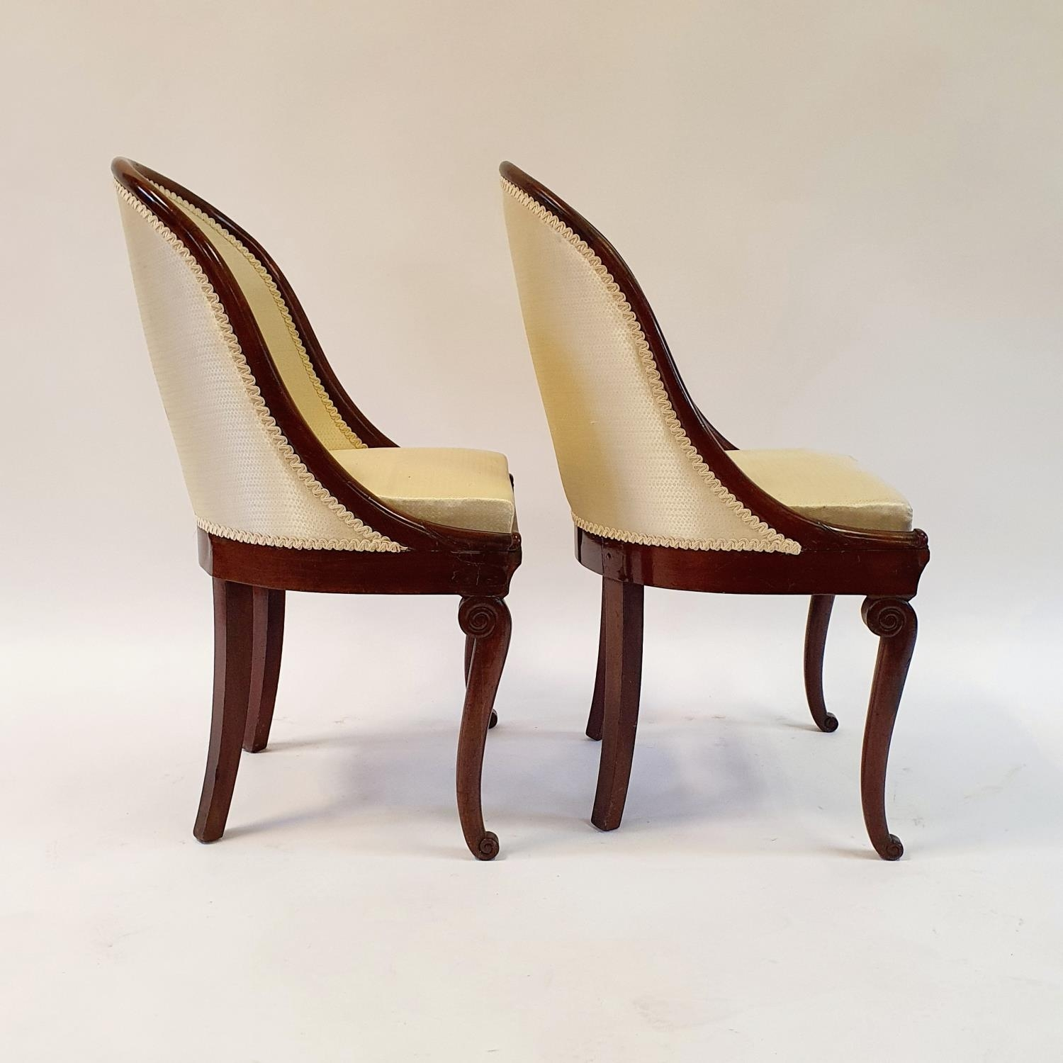 A pair of 19th century mahogany hoop back chairs, of small proportions, on cabriole legs (2) Signs - Image 4 of 7