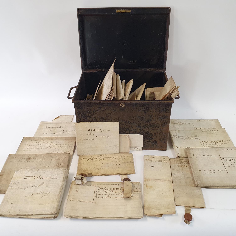 Various indentures, in a tin box
