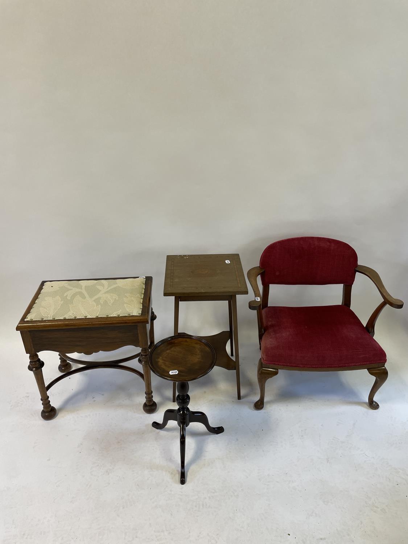 A mahogany piano stool, a mahogany armchair, and two tables (4)