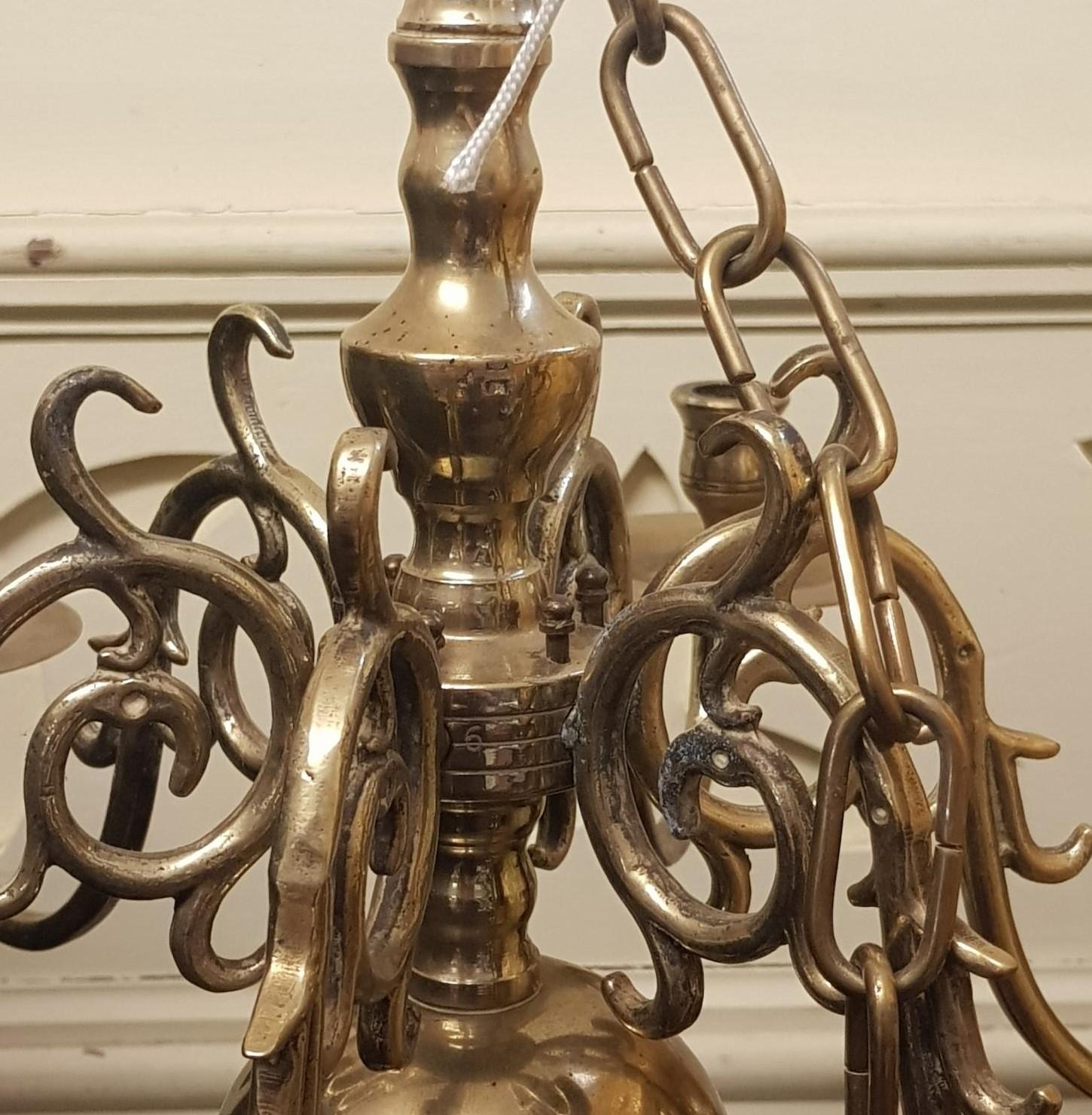 A Dutch style brass six branch chandelier, 50 cm diameter - Image 2 of 2
