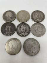 A George III crown, 1820, and seven other crowns (8)
