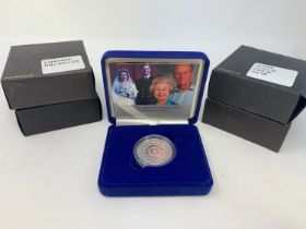 A Diamond Wedding silver proof £5 coin, 2007, and others similar, all boxed