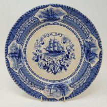 A 19th century Royal Navy Mess No 1 pottery plate, with Fletcher & Miller, Butcher St Portsea