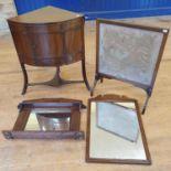 A 19th century mahogany corner washstand, 70 cm wide, a mahogany gateleg table, two mirrors, and a