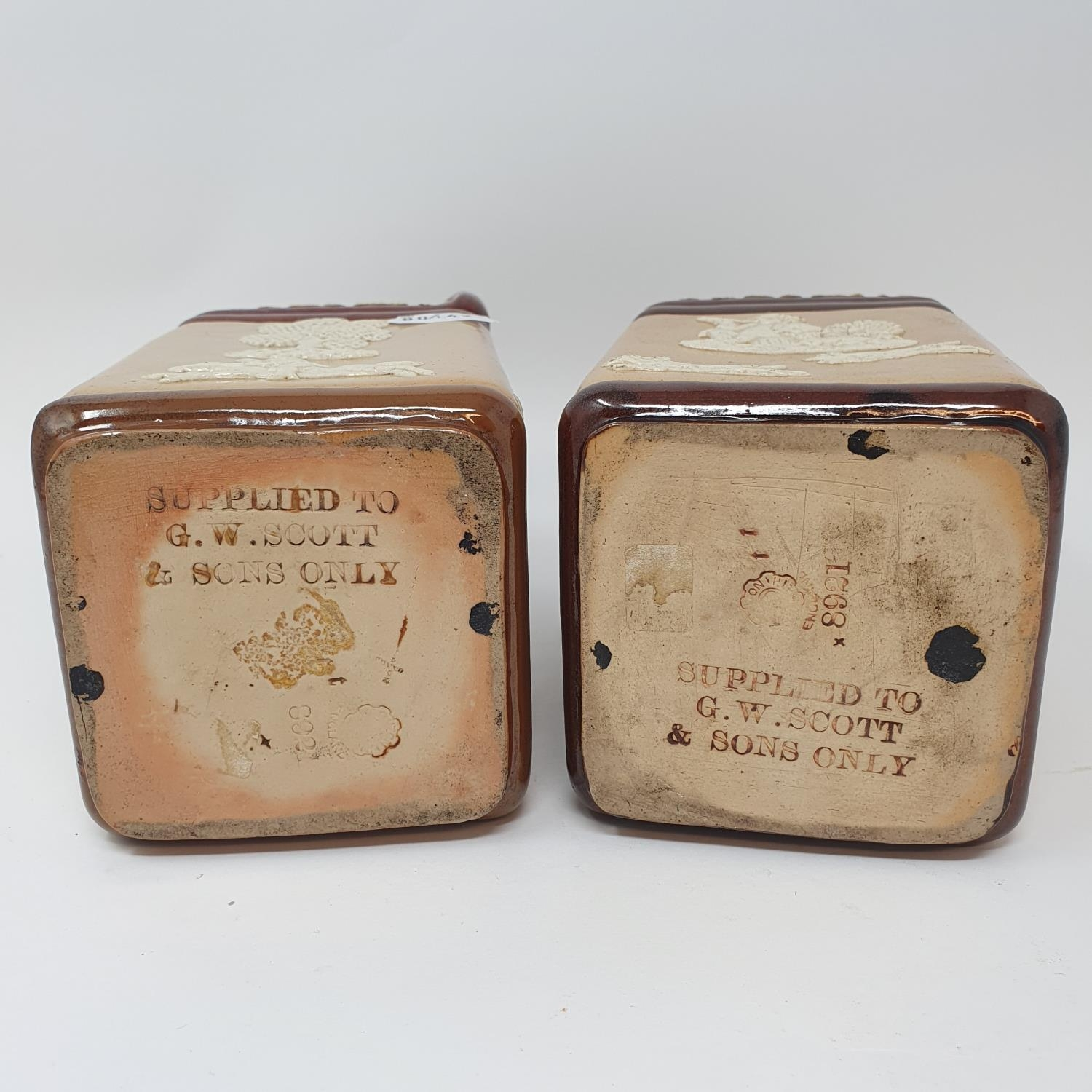 A pair of Doulton Lambeth flagons, impresses Supplied to G.W. Scott & Sons Only and two Doulton - Image 4 of 8