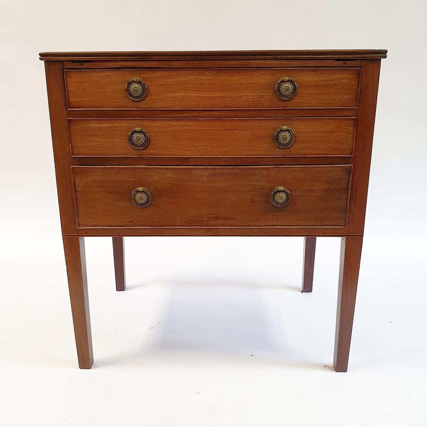 A mahogany chest of three drawers, on square tapering legs, 68 cm wide
