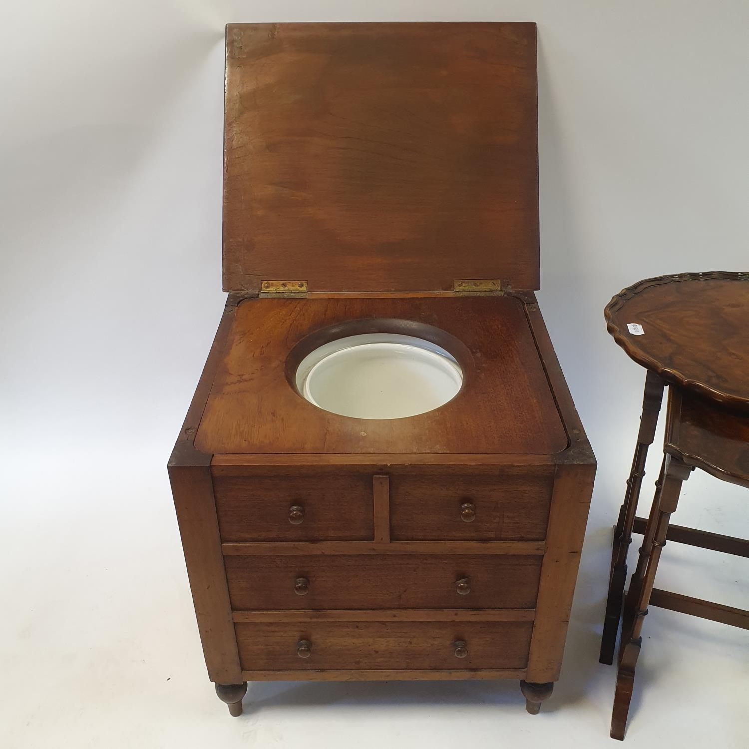 A 19th century mahogany wine table, 53 cm diameter, a commode, two nests of two tables, and a - Image 3 of 3