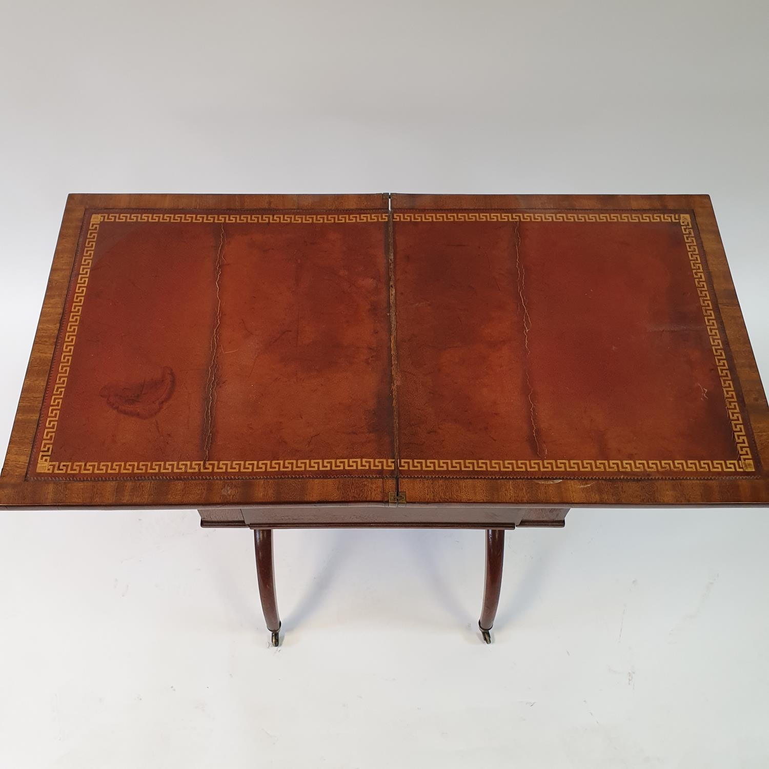 A 19th century mahogany campaign style desk, with folding top to reveal a tooled red leather writing - Image 3 of 6