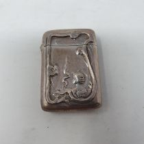 An Art Nouveau style silver vesta, import mark London 1990 In our opinion this is a later struck