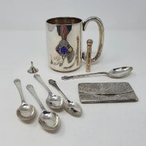 A silver mug, a card case, perfume bottle, miniature funnel and five tea spoons, various dates and