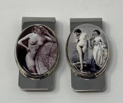A silver and enamel money clip, decorated a nude, and another (2) This is a modern copy