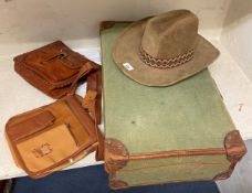 A Beco hat, two leather bags and a canvas suit case (4)