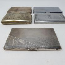 A George V silver cigarette case, Birmingham 1919, another, and three silver plated cigarette