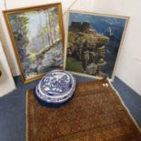 A landscape, mixed media, signature indistinct, another, a red ground Persian rug, a blue and