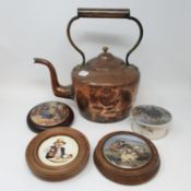 A copper kettle, two Prattware pot lids and various other items (box)