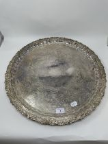 A silver plated tray, 54 cm diameter, and a silver plated box, 9 cm wide (2)